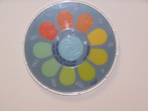 Picture of the Contour Comprator Colour Reference Disk for measuring chlorine solutions from 5 to 250 ppm.