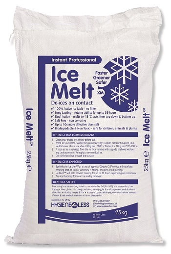 Ice Melt XM ® is a non-corrosive salt free granule that reacts instantly with Ice to melt from the top down or from the bottom up if laid before Ice Forms. Use extensive;ly in the Rail & Car industry to prevent damage to expensive assets.