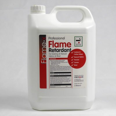 5L Fire Retardant - Ready to Use. Made in the UK. Treats Man-made fibres and paper.