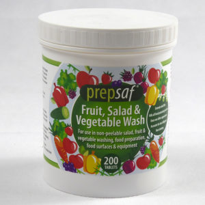 Picture shows image of a tub of 200 Prepsaf Salad, fruit & vegetable wash tablets. These tablet dissolve quickly in water to make a fast acting, non-tainting solution for killing all food poisoning bacteria on produce.